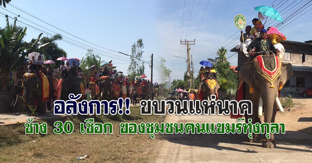 สีสันอลังการ!! ขบวนแห่นาค ช้าง 30 เชือก ของชุมชนคนแขมร์ทุ่งกุลา (คลิป)