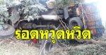 รถสิบล้อเสียหลักลงข้างทาง ชนต้นไม้พังยับ คนขับรอดหวุดหวิด (คลิป)